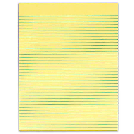 "TOPS™ The Legal Pad™ Glue-Top Writing Pads, 8 1/2"" x 11"", Narrow Ruled, 50 Sheets, Canary, Pack Of 12 Pads"
