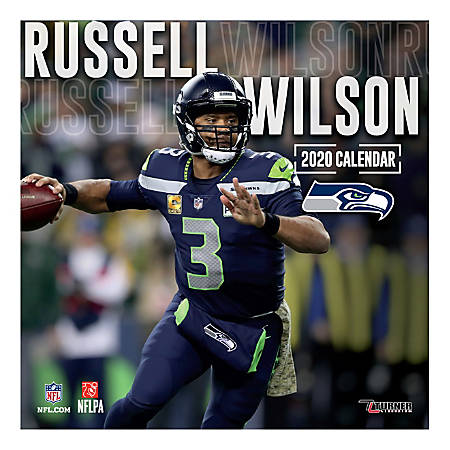 """Turner Licensing Monthly Wall Calendar, 12"""" x 12"""", Russell Wilson, 2020"""