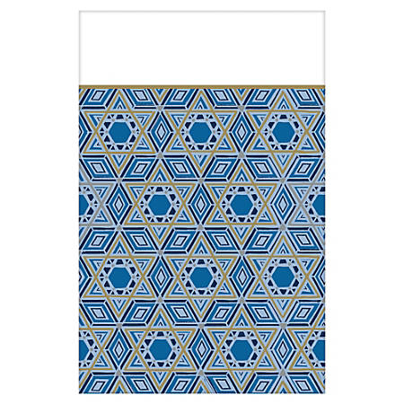 "Amscan Hanukkah Festival Of Lights Plastic Table Covers, 54"" x 102"", Blue, 1 Cover Per Pack, Case Of 3 Packs"