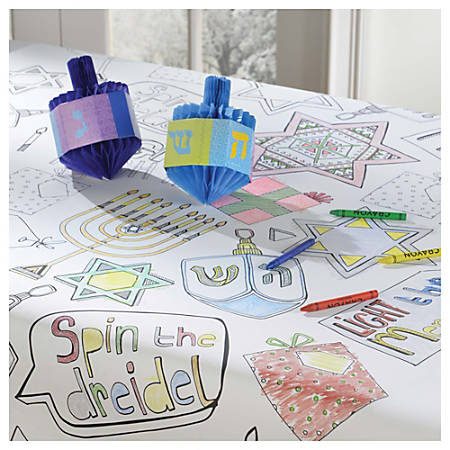 """Amscan Hanukkah Color-In Paper Table Covers, 48"""" x 36"""", White, 1 Cover Per Pack, Case Of 3 Packs"""