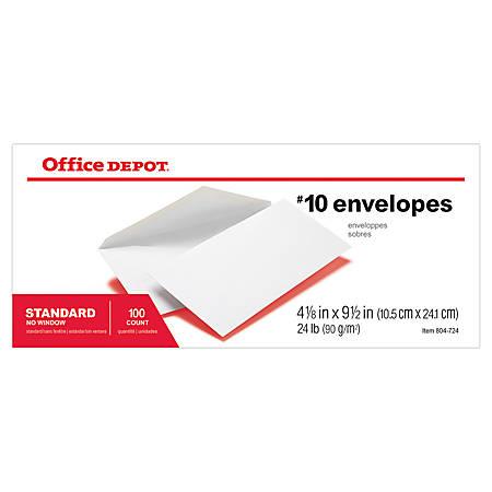"Office Depot® Brand All-Purpose Envelopes, #10, 4 1/8"" x 9 1/2"", White, Box Of 100"