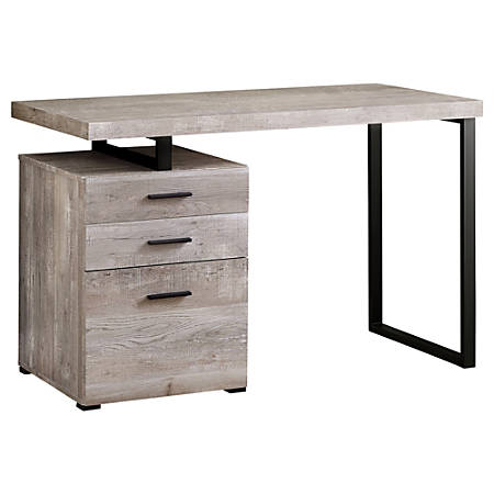 Monarch Specialties Computer Desk With 3 Drawers, Taupe Woodgrain/Black