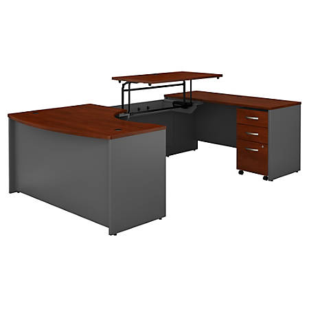 """Bush Business Furniture Components 60""""W Right Hand 3 Position Sit to Stand U Shaped Desk with Mobile File Cabinet, Hansen Cherry/Graphite Gray, Premium Installation"""