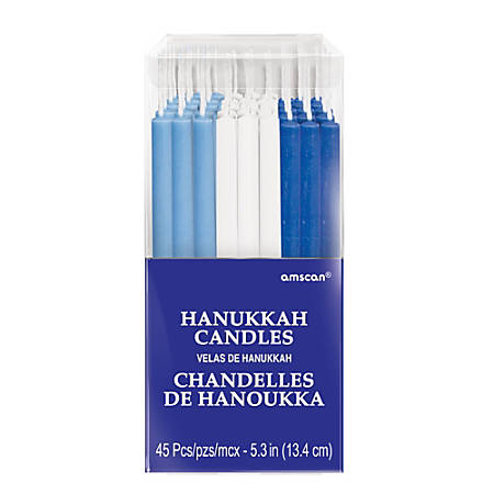 "Amscan Hanukkah Candles, 5-1/4"", 45 Candles Per Pack, Set Of 2 Packs"