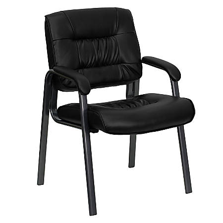 Flash Furniture Leather Executive Side Chair, Black/Titanium