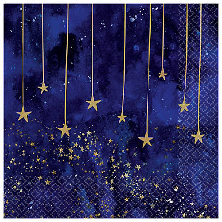 """Amscan Midnight New Year's Eve 2-Ply Lunch Napkins, 6-1/2"""" x 6-1/2"""", Blue, 16 Napkins Per Pack, Case Of 5 Packs"""