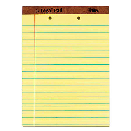 """TOPS™ 2-Hole Punched Perforated Writing Pads, 8 1/2"""" x 11 3/4"""", Legal Ruled, 50 Sheets, Canary, Pack Of 12 Pads"""