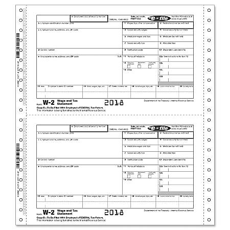 """ComplyRight™ W-2 Continuous Tax Forms, Copies B, C, 2 And 1/D For E-File, 4-Part, 9 1/2"""" x 11"""", Pack Of 100 Forms"""