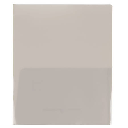 "JAM Paper® Regular-Weight 2-Pocket Presentation Folders, 9"" x 12"", Smoke, Pack Of 6 Folders"
