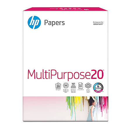 HP Multipurpose Paper, Letter Paper Size, 20 Lb, Ultra White, Ream Of 500 Sheets