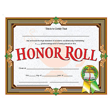 """Flipside Honor Roll Certificate - 11"""" x 8.50"""" - Laser Compatible - Assorted30 / Pack"""