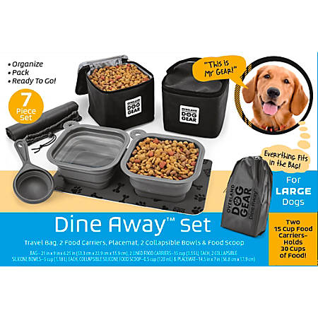"Overland Dog Gear Dine Away Bag For Medium/Large Dogs, 9""H x 6-1/4""W x 21""D, Black"