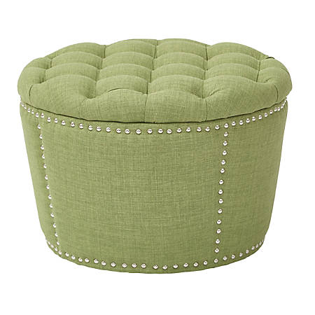 OSP Accents Lacey Tufted Storage Ottoman Set, Milford Grass