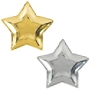 "Amscan New Year's Star-Shaped Metallic Paper Plates, 10-1/2"", Shiny Silver/Glittery Gold, 10 Plates Per Pack, Case Of 3 Packs"