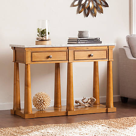Southern Enterprises Grandview Console Table, Rectangle, Faux Marble/Glazed Pine