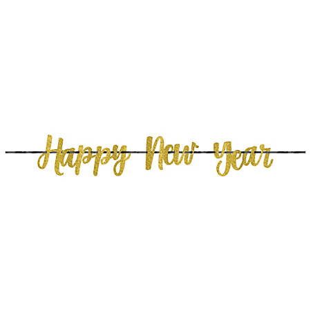 "Amscan Happy New Year Glitter Ribbon Letter Banners, 8"" x 144"", Gold, 1 Banner Per Pack, Case Of 3 Packs"