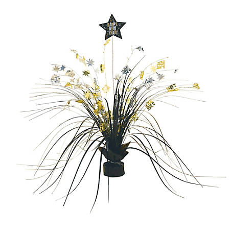 """Amscan New Year's Spray Centerpieces, 15"""" x 7"""", Black, 1 Centerpiece Per Pack, Case Of 3 Packs"""