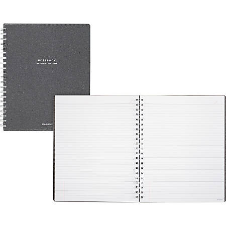 "AT-A-GLANCE® Signature Collection™ Twin-Wire Notebook, 8 3/4"" x 11"", Legal Ruled, 160 Pages (80 Sheets), Heather Gray (YP14545)"