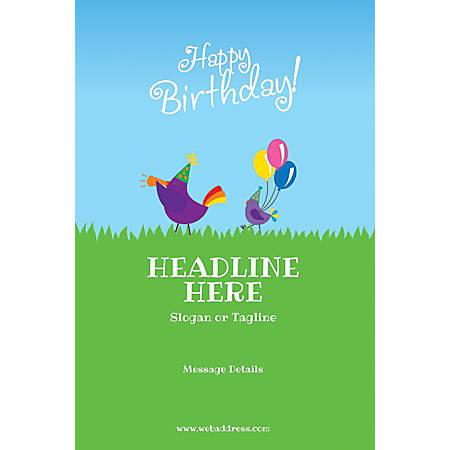 Custom Poster, Birthday Birds, Vertical