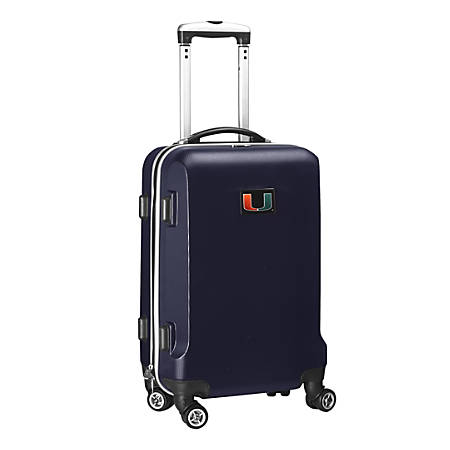 """Denco Sports Luggage NCAA ABS Plastic Rolling Domestic Carry-On Spinner, 20"""" x 13 1/2"""" x 9"""", Miami Hurricanes, Navy"""