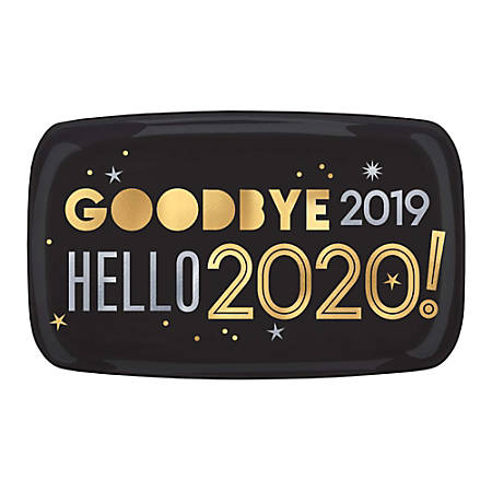 "Amscan New Year's Hello 2020 Coupe Platters, 11"" x 18"", Multicolor, Set Of 3 Platters"