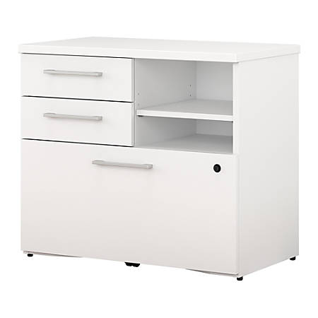 "Bush Business Furniture 400 Series File Cabinet, 30""W, White, Premium Installation"