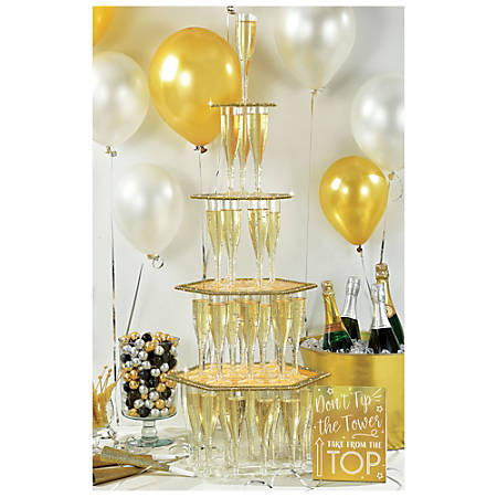 Amscan New Year's Champagne Tower Kits, Gold, 1 Kit Per Pack, Case Of 2 Packs