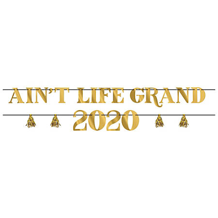 Amscan New Year's 2020 Ain't Life Grand Letter Banner Kits, Gold, 2 Banners Per Pack, Case Of 2 Packs