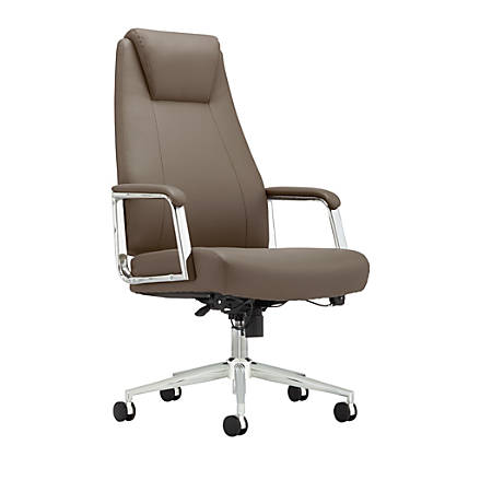 Realspace® Sloane Series Bonded-Leather High-Back Chair, Taupe/Chrome