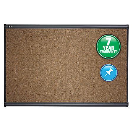 "Quartet® Select Prestige™ Color Cork Bulletin Board, Graphite Finish Frame, 48""H x 72""W"