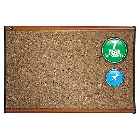 "Quartet® Select Prestige™ Color Cork Bulletin Board, Light Cherry/Black Finish Frame, 48""H x 72""W"