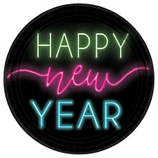 Amscan New Years Glow Paper Plates