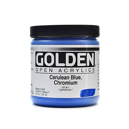 Golden OPEN Acrylic Paint, 8 Oz Jar, Cerulean Blue Chromium