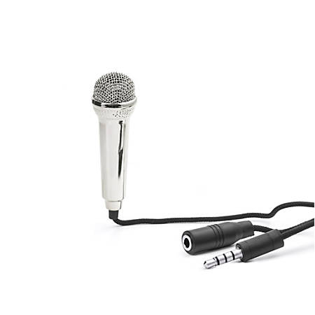 Kikkerland Design Mini Karaoke Microphone For Smartphones, Silver, US133