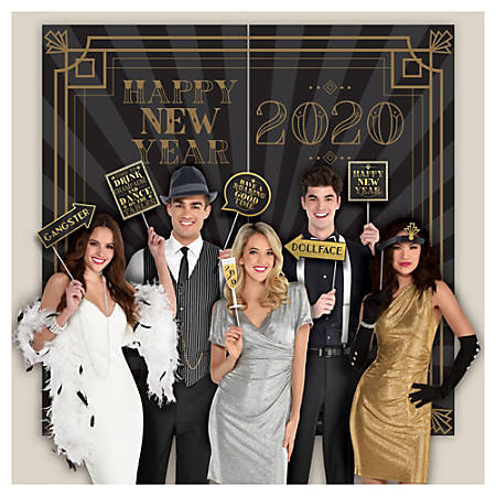 "Amscan New Year's 2020 Roaring 20's Scene Setters With Props, 65"" x 32-1/2"", Black, 15 Pieces Per Pack, Case Of 2 Packs"