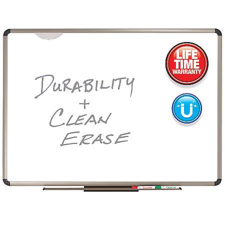 """Quartet® Prestige Plus® Premium Porcelain Magnetic Dry-Erase Board, Titanium Frame, 24""""H x 36""""W"""