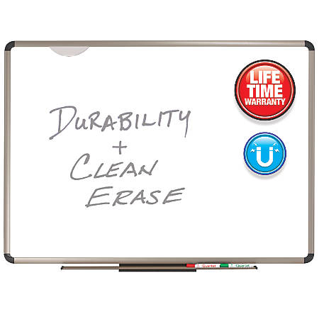 """Quartet® Prestige Plus® Premium Porcelain Magnetic Dry-Erase Board, Titanium Frame, 36""""H x 48""""W"""