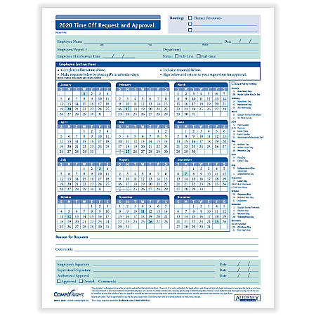 "ComplyRight™ 2020 Time Off Request And Approval Calendars, 8 1/2"" x 11"", Pack Of 50"