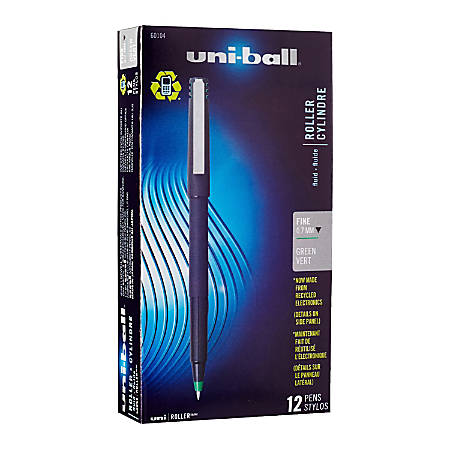 uni-ball® Rollerball™ Pens, Fine Point, 0.7 mm, 80% Recycled, Black Barrel, Green Ink, Pack Of 12 Pens