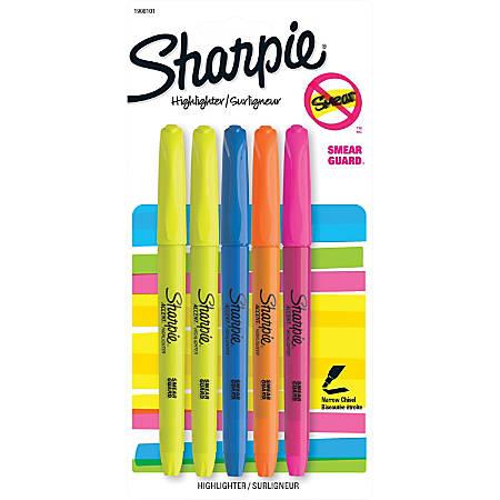 Sanford Sharpie Narrow Chisel Tip Highlighter - Narrow Marker Point - Chisel Marker Point Style - Yellow, Blue, Pink, Orange - 5 / Pack