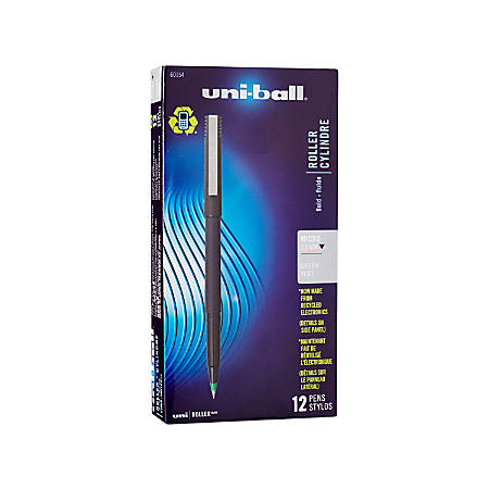 uni-ball® Rollerball™ Pens, Micro Point, 0.5 mm, 80% Recycled, Black Barrel, Green Ink, Pack Of 12 Pens