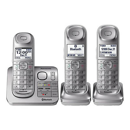 Panasonic® Link2Cell DECT 6.0 Cordless Phone With Answering Machine And 3 Handsets, KX-TGL463S
