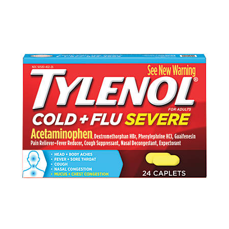 Tylenol Cold + Flu Severe Caplets, Box Of 24 Caplets
