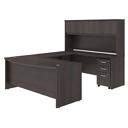 "Bush Business Furniture Studio C U Shaped Desk with Hutch and Mobile File Cabinet, 72""W x 36""D, Storm Gray, Premium Installation"