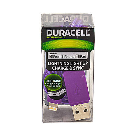 Duracell® Light Up Lightning Cable, 3', Purple, LE2243