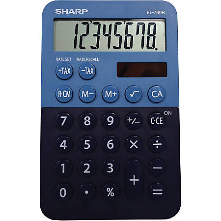"Sharp EL-760RBBL Desktop Calculator - 3-Key Memory, Dual Power, Angled Display, LCD Display, Automatic Power Down, Extra Large Key - 8 Digits - LCD - Battery/Solar Powered - 1 - LR54 - 0.9"" x 3"" x 4.7"" - Blue - Plastic - Desktop - 1 Each"