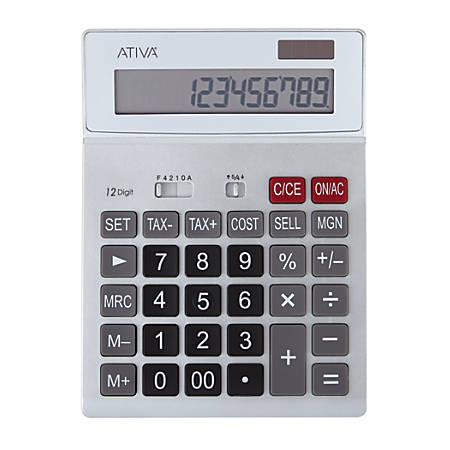 "Ativa® KC-423 12-Digit Desktop Calculator, 7.52""H x 5.52""W x 1.8""D, 2Silver"