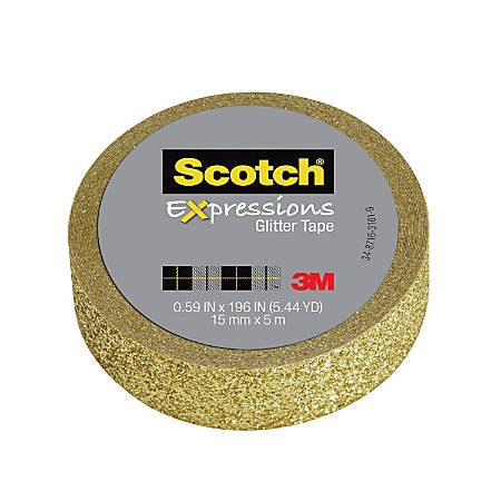 "Scotch® Expressions Glitter Tape, 0.59"" x 196"", Gold"
