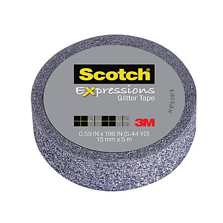 "Scotch® Expressions Glitter Tape, 0.59"" x 196"", Platinum"