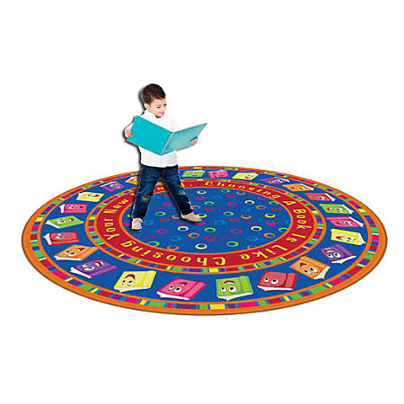 Flagship Carpets Circle Time Books Rug, Round, 6', Bright